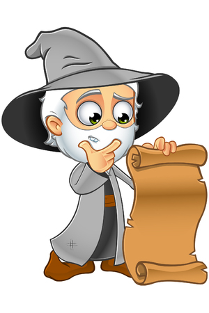 A cartoon illustration of an Old Wizard character dressed in a Grey robe.