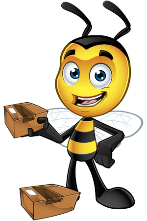 antennas: A cartoon illustration of an cute looking Little Bee Character.