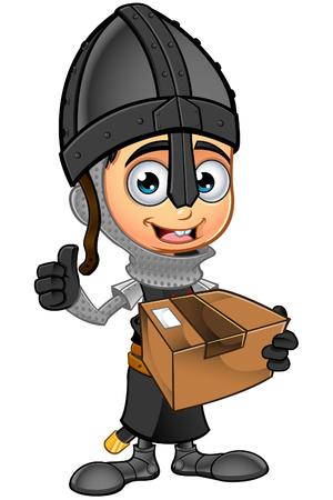 Boy Black Knight Character Illustration