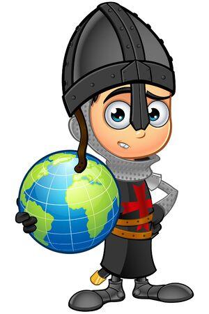 royal: Boy Black Knight Character Illustration