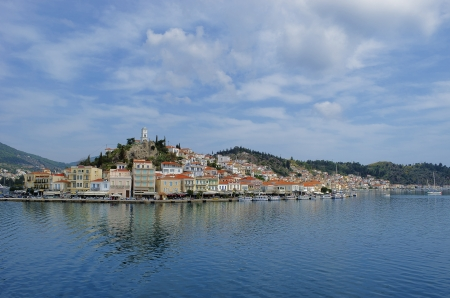 The city of Poros in Greece seen from the Peloponnese peninsula