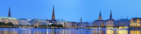 Panorama picture of the Binnenalster in Hamburg at the blue hour