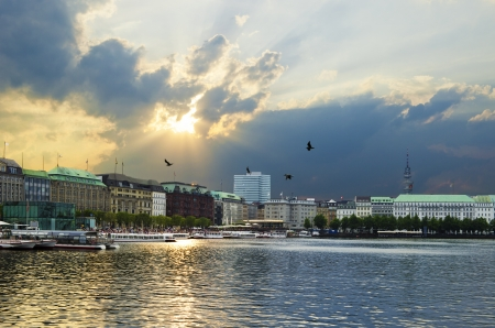 HDR image of the Binnenalster in the center of Hamburg, Germany