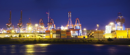 Container terminal in the harbor of Hamburg, Germany.