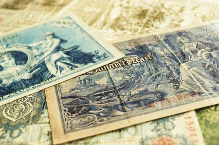 deutschemarks: Pile of old German banknotes from the 1910s.