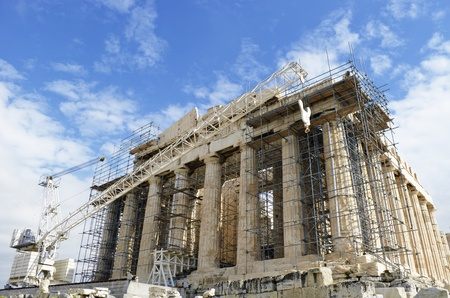The Pantheon on the Acropolis of Athens under construction. Stock Photo