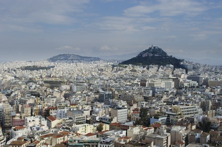 City view of Athens from the acropolis. The Lycabettus can be seen as a prominent feature.