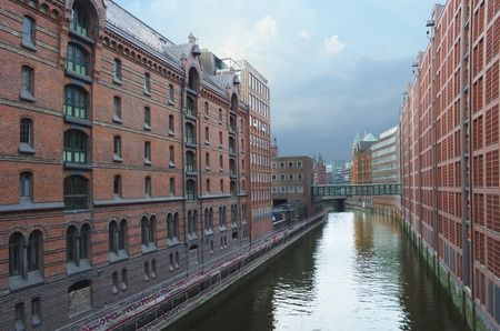 The famous Speicherstadt in Hamburg, Germany