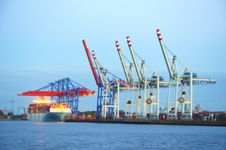 Container terminal in the harbor of Hamburg, Germany