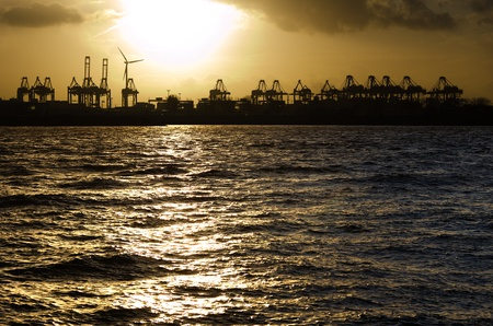 Sunset over the harbour of Hamburg, Germany  Stock Photo - 17859521