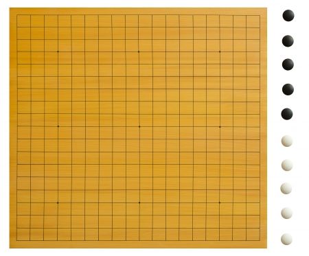 A empty goban with isolated go stones  goishi   Every board position can easily be created with this set  Clipping path included, for each stone seperately  Stock fotó