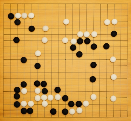 Top view of a running game of go