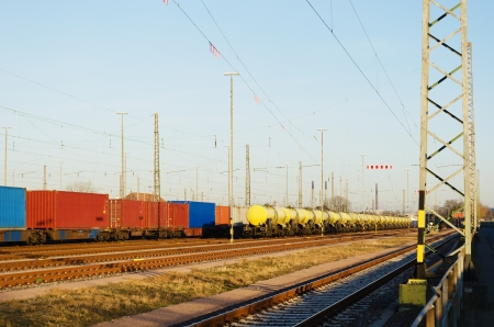 freightliner: A freight train in a freight yard  Stock Photo