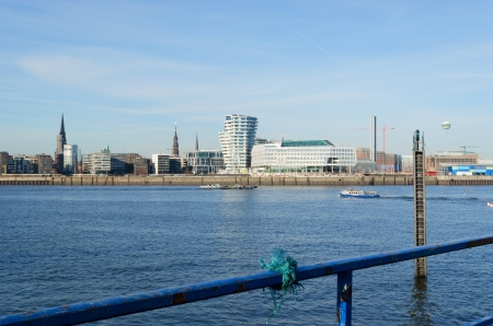 View towards Hamburg from the south  Focus on railing  Stock Photo