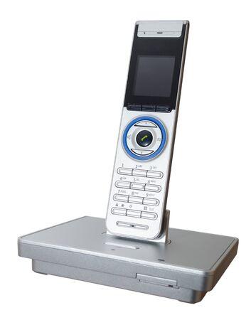 A used modern landline phone isolated on white