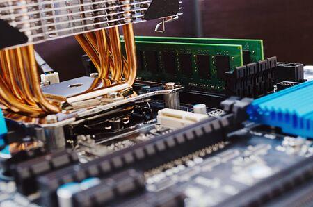 Modern computer mainboard  Shallow depth of field