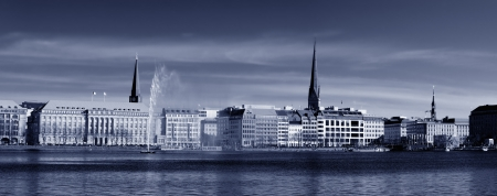 Toned black and white image of the Binnenalster in Hamburg, Germany