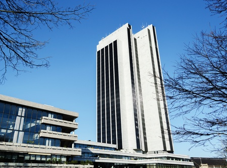 A modern skyscraper on a nice spring day