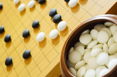 A game of go  Focus on foreground stones