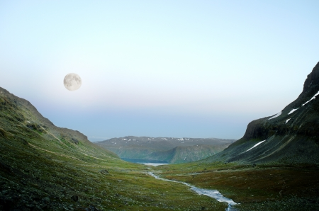 Scene looking like the surface of an alien planet  Shot in Jotunheimen national park, Norway  Moon shot on location with shorter exposure and longer focal length