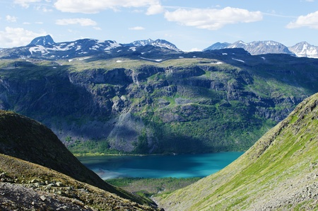 View towards the Gjende lake in Jotunheimen national park in Norway  The Gjende is supposed to be one of the most beautiful lakes in Norway