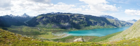 Panorama image towards Gjendebu at the Gjende lake in Jotunheimen national park in Norway  The Gjende is supposed to be one of the most beautiful lakes in Norway