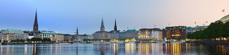Panorama picture of the Binnenalster in Hamburg at dusk