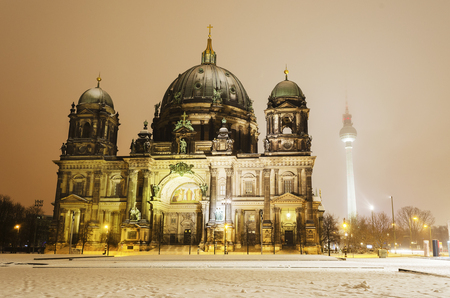 The Berlin Cathedral in winter  The famous television tower can be seen on the right hand side