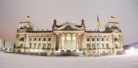 Winter shot of the German parliament, the Reichstag, in Berlin