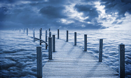 A bridge in the sky, that leads down into the clouds
