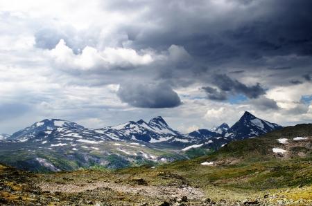 Cloudy mountain scenery in Jotunheimen National Park in Norway