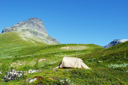 A hikers tent in Jotunheimen National Park in Norway Stock Photo