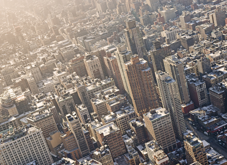 Aerial shot of residential area in Manhattan, New York City in warm evening light