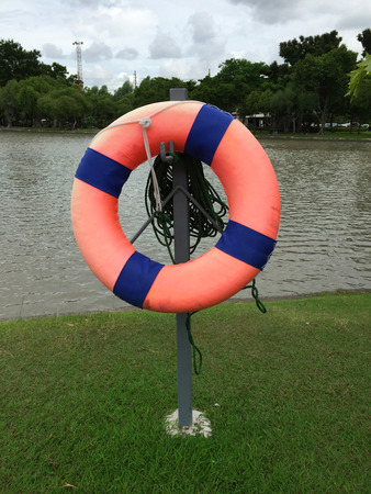 standby: Life ring standby on the lake Stock Photo