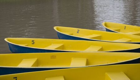 yellow boats: Yellow boats on the lake