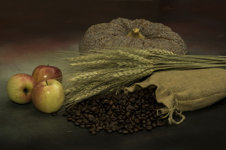 sorrowful: Still life with wheat , apple, pumpkin and coffee beans Stock Photo
