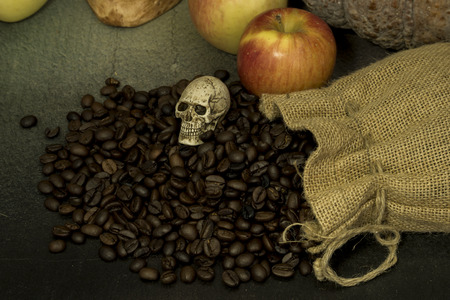 senility: Still life with skulls in dark color tone (Halloween) Stock Photo