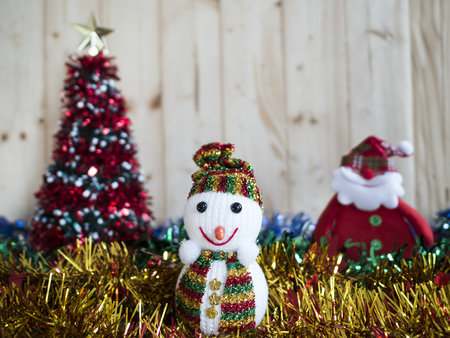 snowman wood: One Snowman on wood background (Merry Christmas Concept)