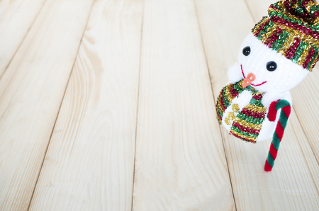 snowman wood: One Snowman on wood background (Christmas Holiday)