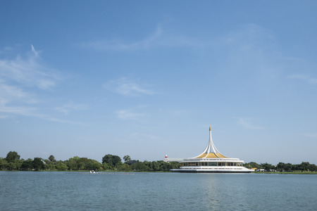 ix: Suanluang RAMA IX park, public park in Bangkok at Thailand under the blue sky.