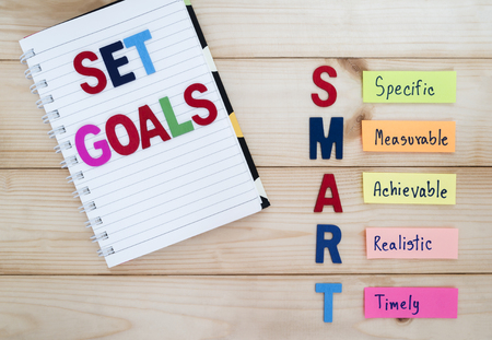 time bound: SMART Goals in wood background (Business Concept)