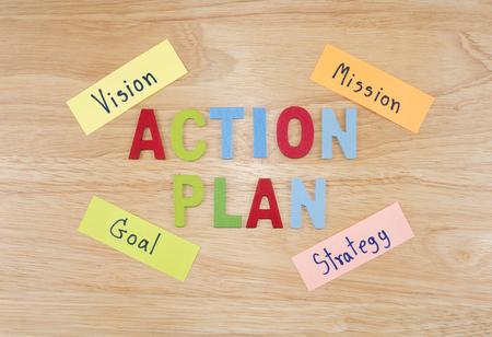 plan de accion: Plan de Acci�n de la ortograf�a de la palabra en el fondo de madera (Concepto de negocio)