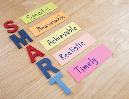 metas: Objetivos SMART en el fondo de madera (Concepto de negocio)
