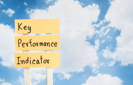 kpi: KPI (Key Performance Indicator) on blue sky background (Business concept) Stock Photo