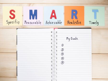measurable: SMART Goals and My Goals in notebook on wood background (Business Concept)