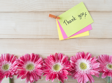 Pink flower and word Thank you on colorful note paper with wood background