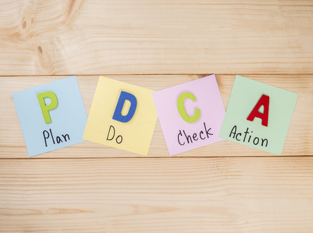 Word spelling PDCA Plan Do Check Action in wood background (Business Concept)
