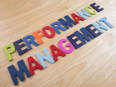 performance management: Word spelling Performance Management on wood background
