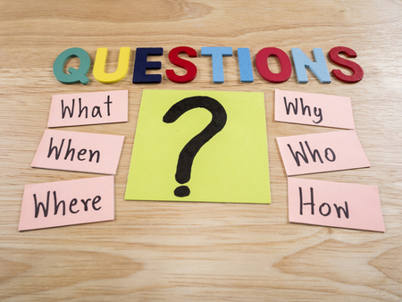 when: Questions what, when, where, why, who, how on wood background Stock Photo