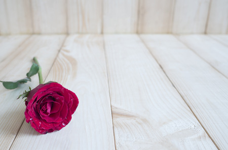 Red roses on wood background, Love concept for Valentines Day